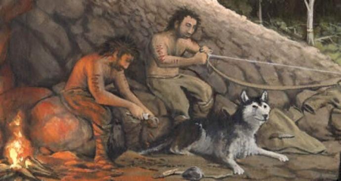 Древние люди с собакой в пещере