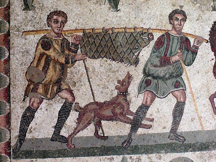 старинная мозаика с собакой