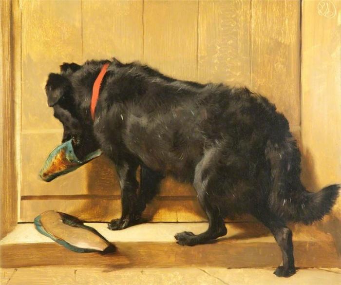 Собака с тапочками, 1848 год.