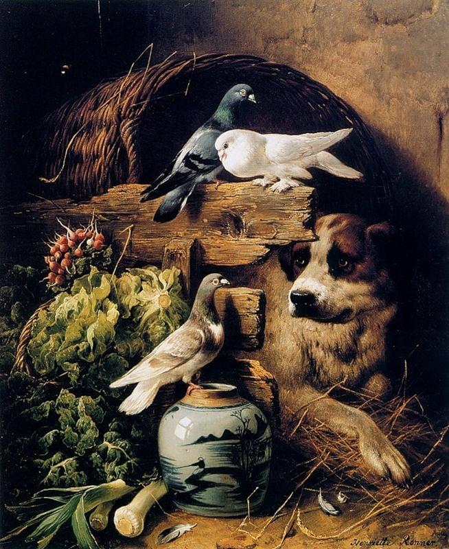 Собака и птицы