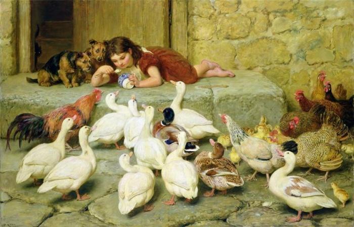 Вместе весело кормить птичек