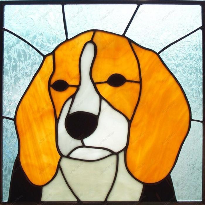 Витраж. Рыжая собака.