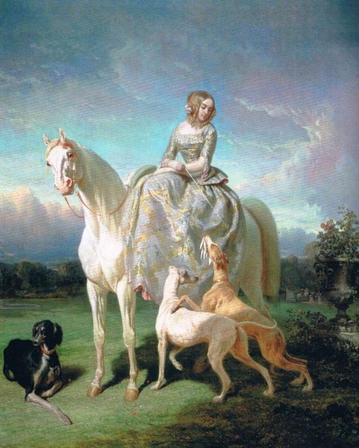 Прогулка на лошади в сопровождении собак