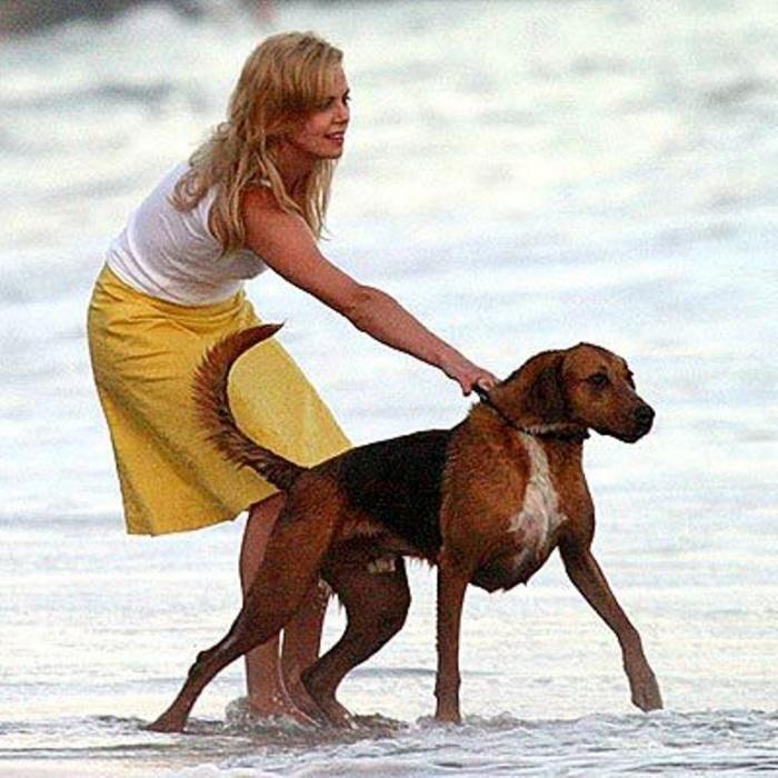 Шарлиз Терон и собака