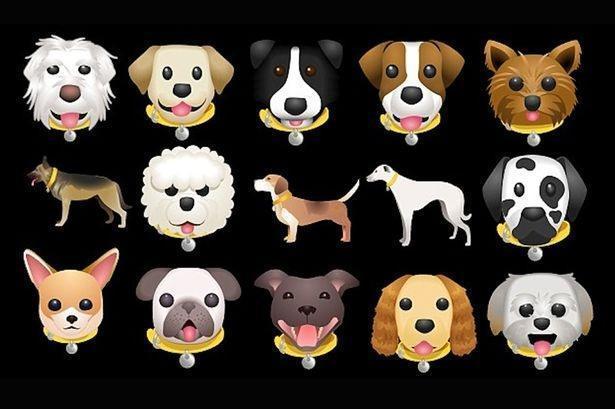 Эмодзи с изображениями 23 популярных пород собак