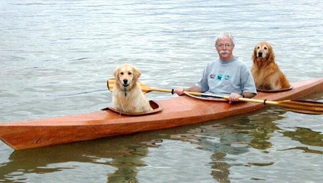 Мужчина построил специальный каяк для себя и своих собак